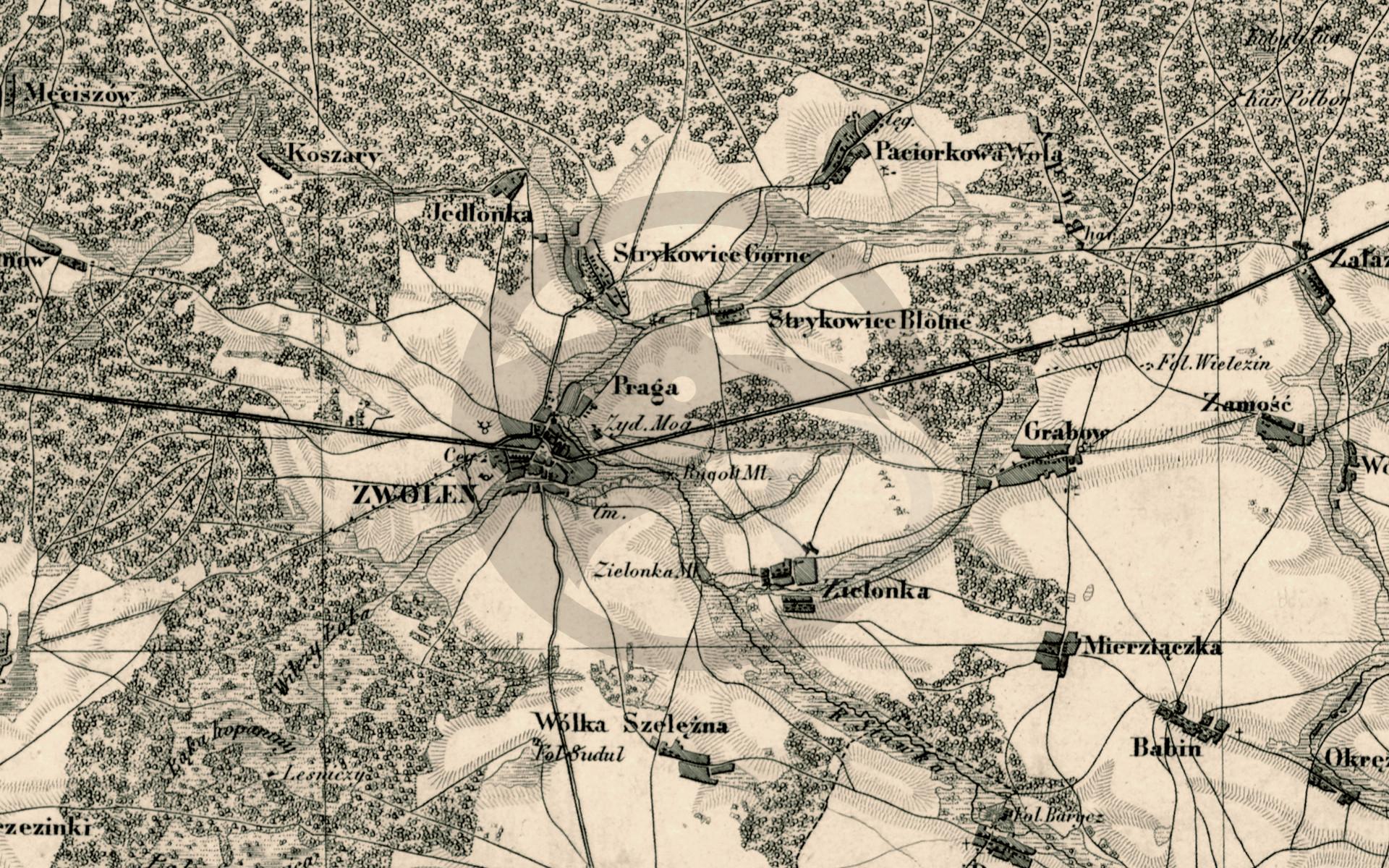 Topograficzna karta Królestwa Polskiego z 1843 r.; zbiory Cyfrowej Biblioteki Narodowej Polona, sygn. ZZK 13 540-13 599
